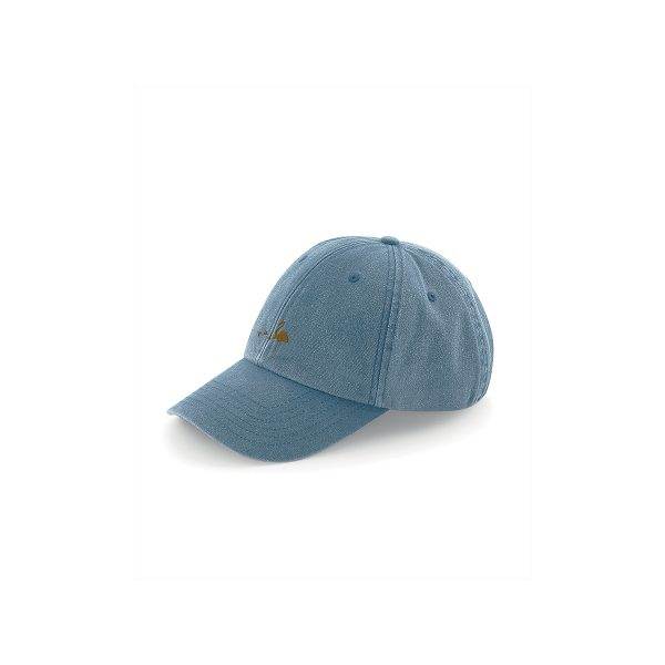 cappellino con visiera effetto vintage ricamato